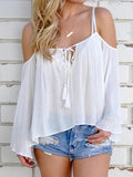 Chloebuy Tassel Thin Off-shoulder Sexy Women Top