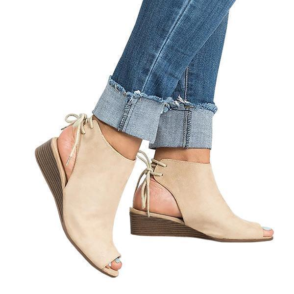Chloebuy Cropped Wedge Open Toe Low Heel Sandals