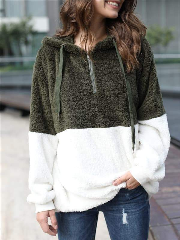 Chloebuy Winter Warm Faux Fur Zipper Hoodies