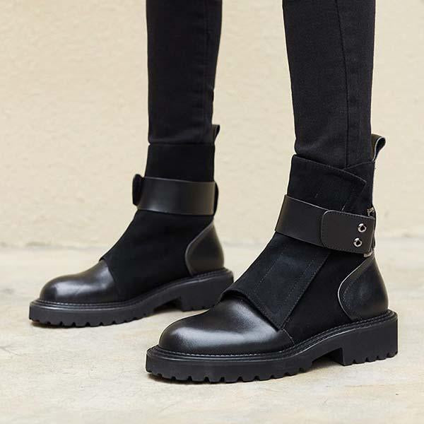 Chloebuy Fashion Classic Adjustable Buckle Boots