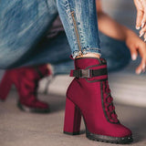 Chloebuy Wine Red High Heel Boots