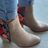 Chloebuy Vintage Embroidered Chunky Heel Booties