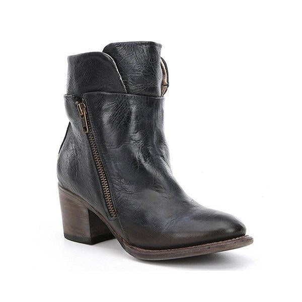 Chloebuy Women Chunky Heel Side Zipper Boots