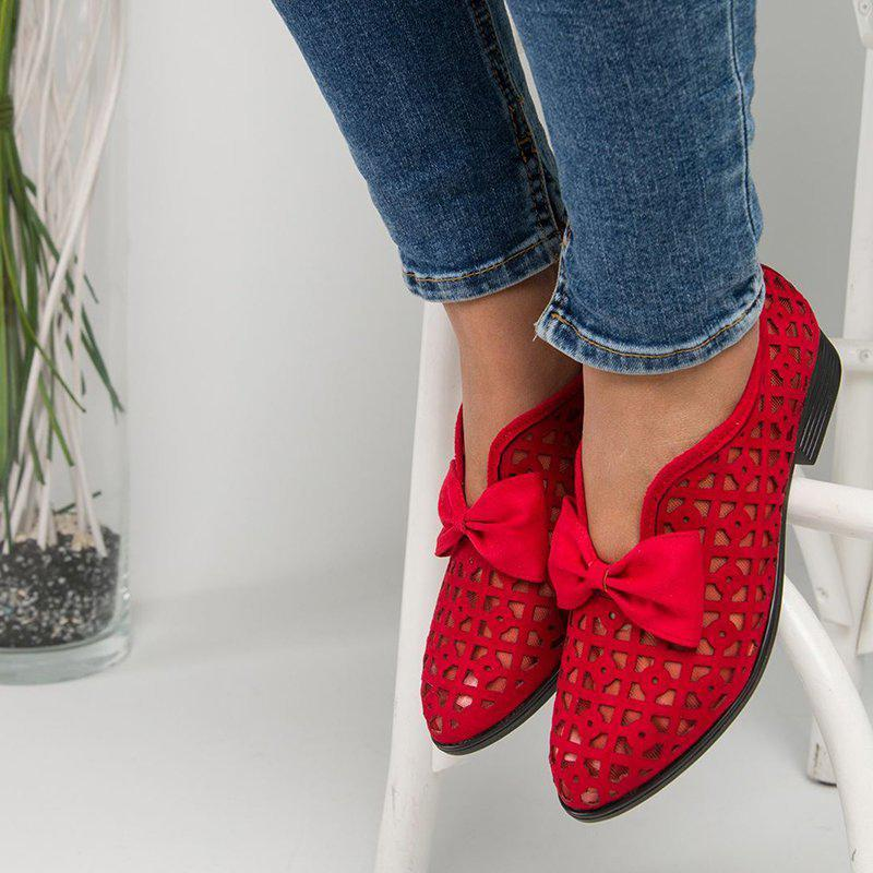 Chloebuy Hollow Out Chunky Heel Loafers