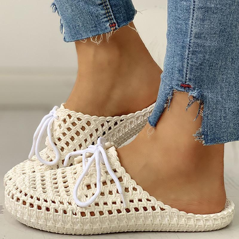 Chloebuy Hollow Out Lace-Up Slippers