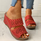 Chloebuy Open Toe Hollow Out Wedge Sandals