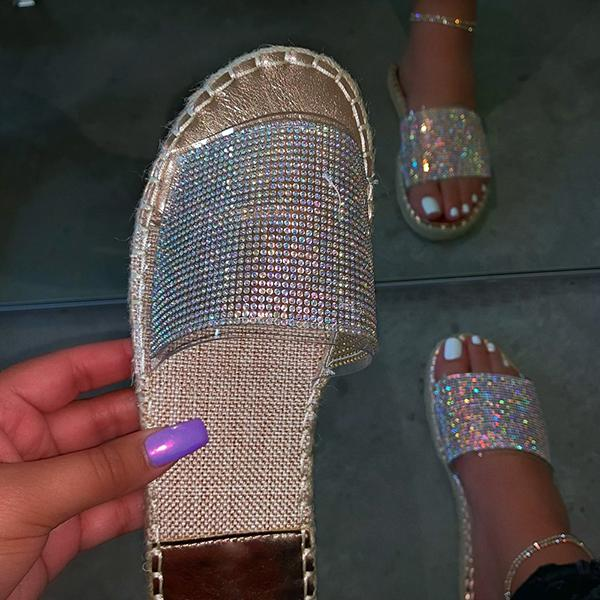 Chloebuy Fashion Stylish Clear Strap Rhinestones Slippers