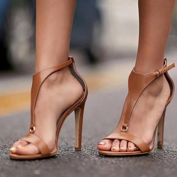 Chloebuy Adjustable Buckle Thin High Heel Sandals