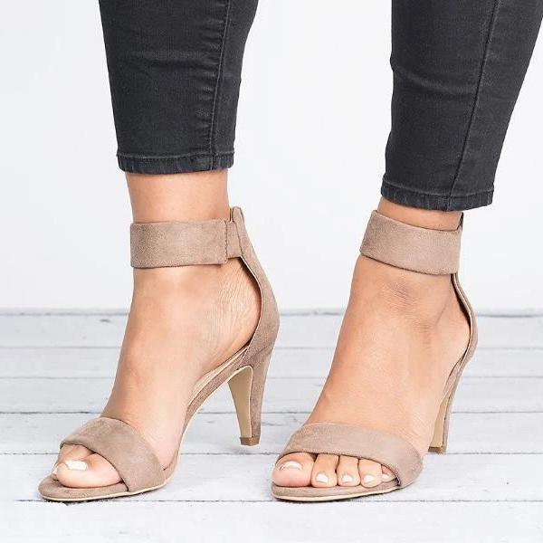 Chloebuy Ankle Strap Mid Thin Heel Sandals