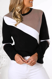 Chloebuy Round Neck Stitching Long Sleeve Black Hoodie