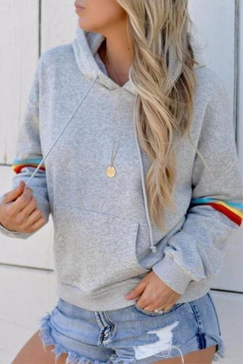 Chloebuy Solid Color Long Sleeve Collage Hooded Hoodie