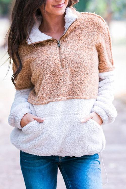 Chloebuy Plush Color-lump Patchwork Brown Sweatshirt