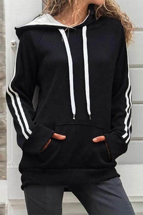Chloebuy Hooded Collar Patchwork Black Hoodie