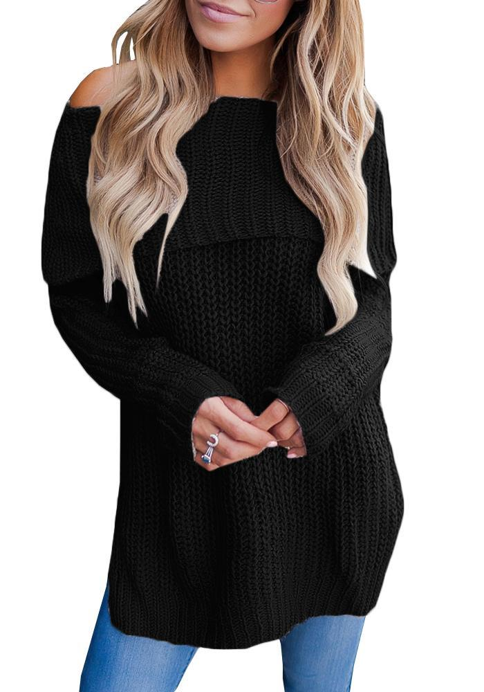 Chloebuy Fashion Long Sleeve off shoulder Solid color Casual Sweater