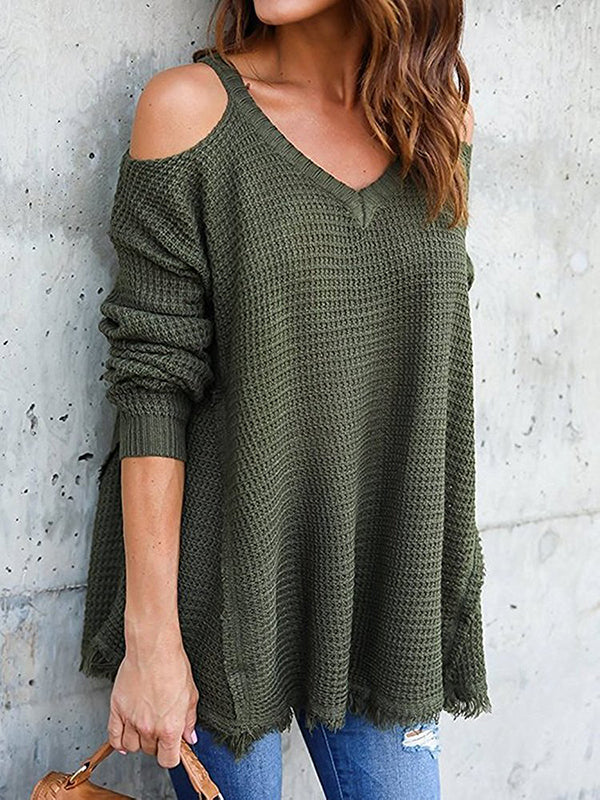 Chloebuy Long Sleeve Round Neck Off-the-shoulder Sweater