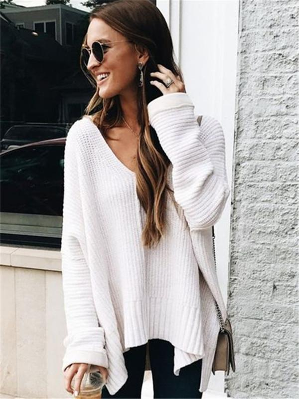 Chloebuy Casual Deep V Neck Knit Sweater