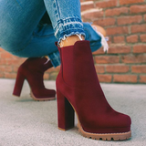 Chloebuy Elastic Panel Chunky Heel Ankle Booties (Ship in 24 Hours)