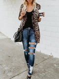 Chloebuy Brown Leopard Print Casual Long Sleeve Plus Size Cardigan