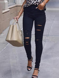 Chloebuy Casual Stretch Broken Jeans