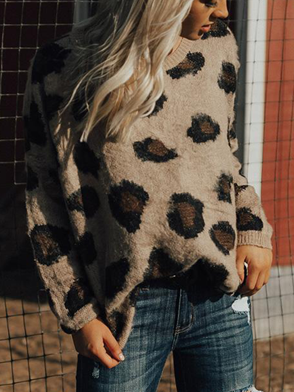 Chloebuy Leopard & Lattes Shift Sweater