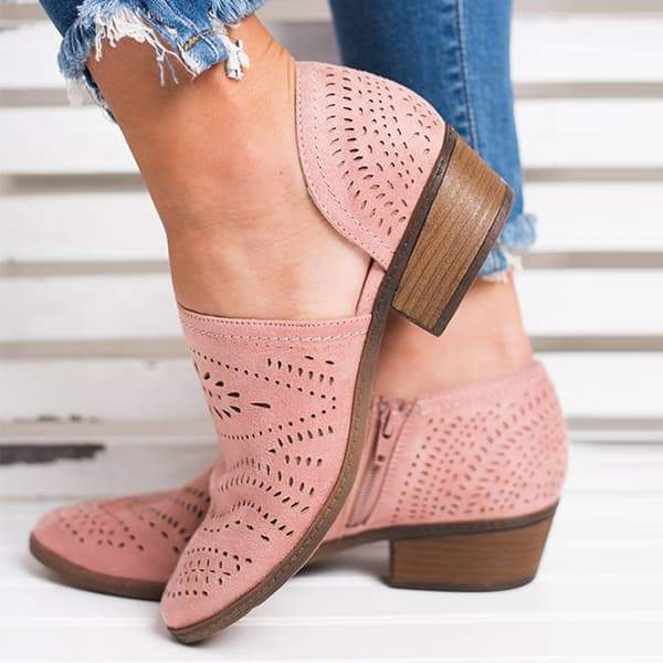 Chloebuy Hollow Low Heel Cutout Booties