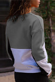 Chloebuy Casual Round Neck Stitching Long Sleeve Sweatshirt