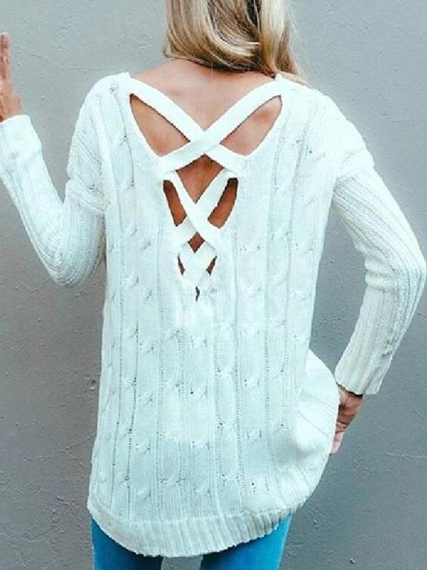 Chloebuy Winter White Hollow Out Sweater