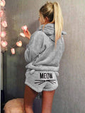 Chloebuy Warm Hoodie Sleepwear Two Piece Set