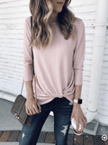 Chloebuy Casual Solid Knitted Sweater Top