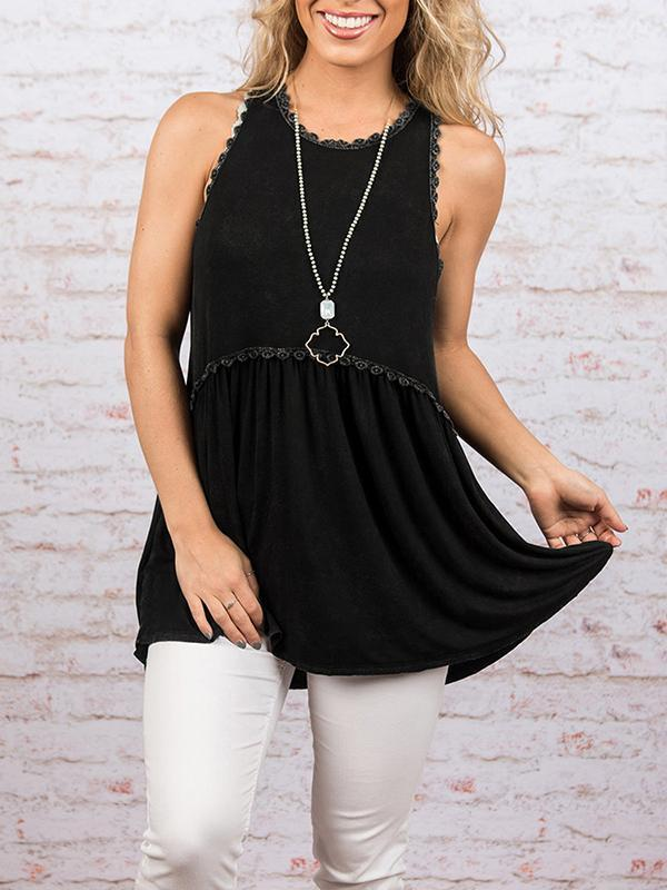 Chloebuy  Sleeveless Pleated  Tank Top