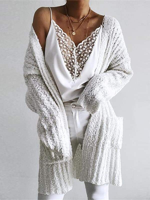 Chloebuy Casual Long White Cardigan