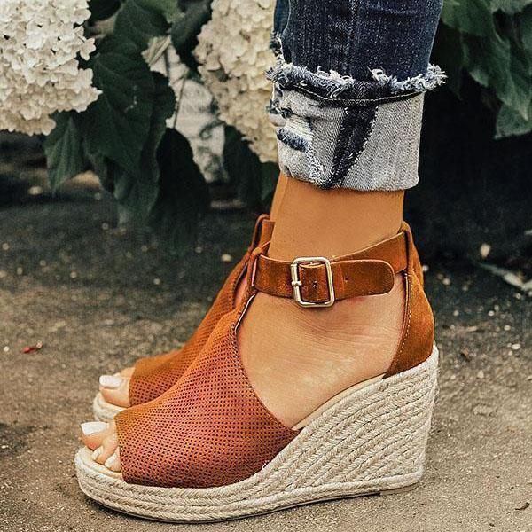 Chloebuy Chic Espadrille Wedges Adjustable Buckle Sandals