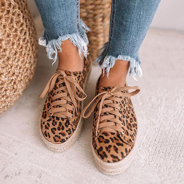 Chloebuy Leopard Espadrille Sneakers (Ship in 24 Hours)