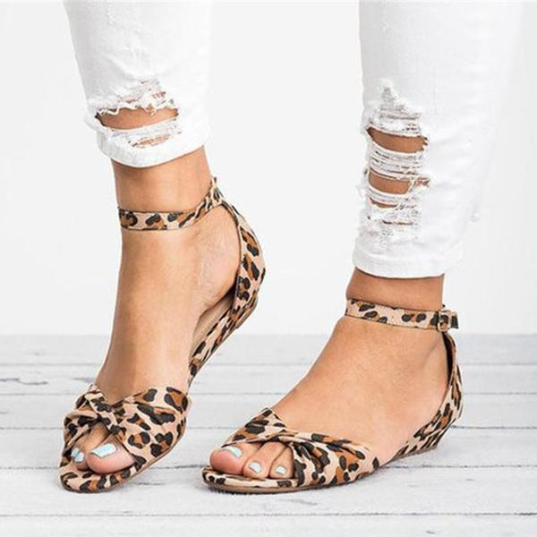 Chloebuy Casual Leopard Adjustable Buckle Sandals
