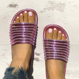 Chloebuy Shiny Strappy Slip-On Sandals