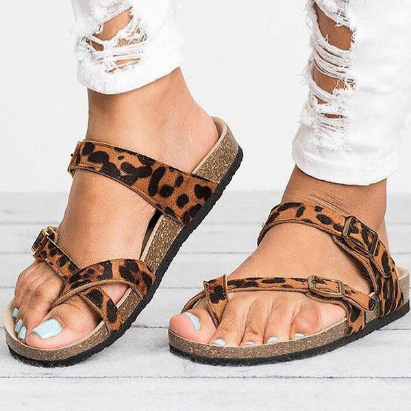 Chloebuy Leather Strap Buckle Flats Sandals