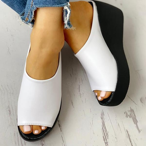 Chloebuy Peep Toe Muffin Wedge Slippers