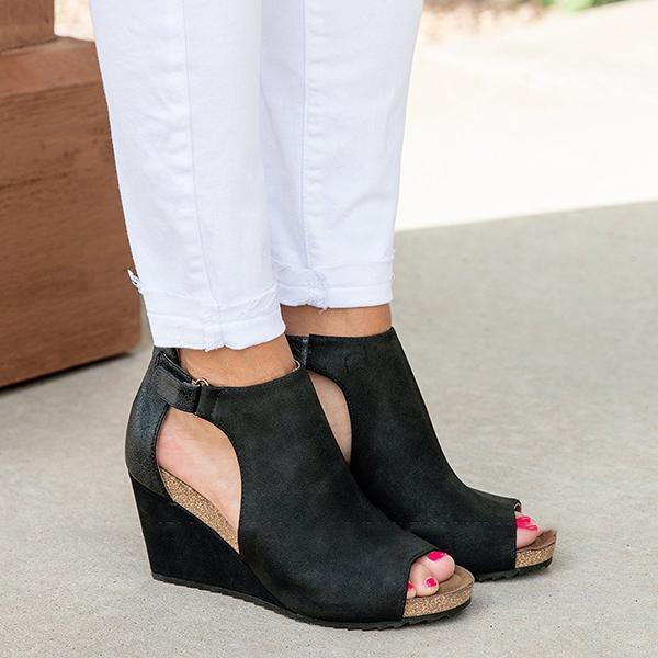 Chloebuy Peep Toe Blocking Hook-Loop Wedges (Ship in 24 Hours)