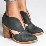 Chloebuy Round Toe Women Chunky Heel Casual Pu Ankle Boots