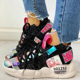 Chloebuy Knitted Breathable Lace-Up Casual Sneakers