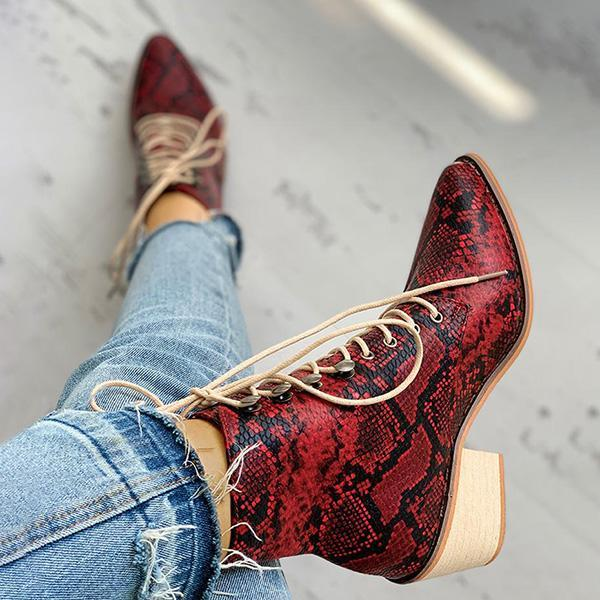 Chloebuy Pointed Toe Lace-up Snakeskin Chunky Heeled Boots