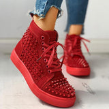 Chloebuy Solid Studded Eyelet Lace-Up Casual Sneakers
