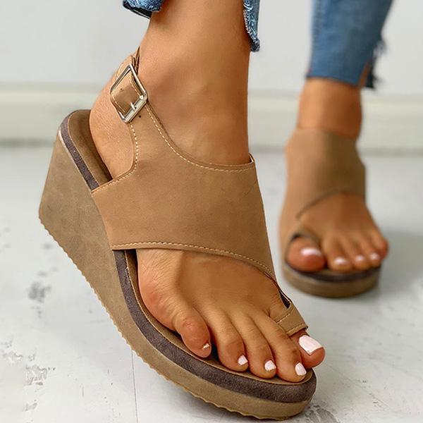 Chloebuy Toe Ring Cutout Slingback Sandals