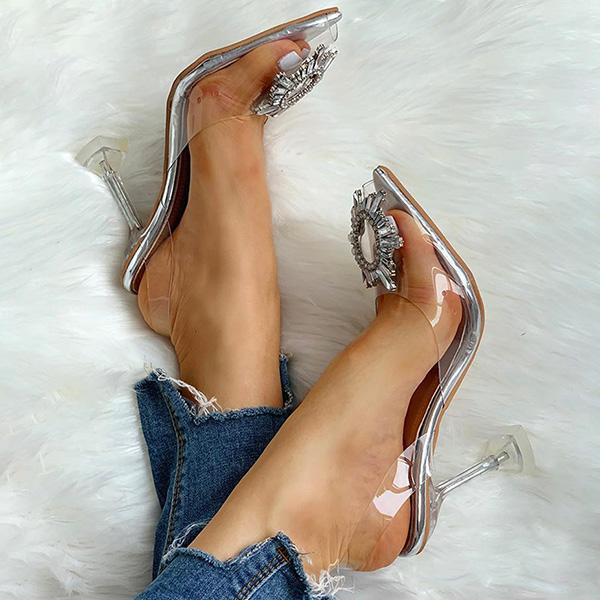 Chloebuy Studded Pointed Toe Transparent Thin Heels