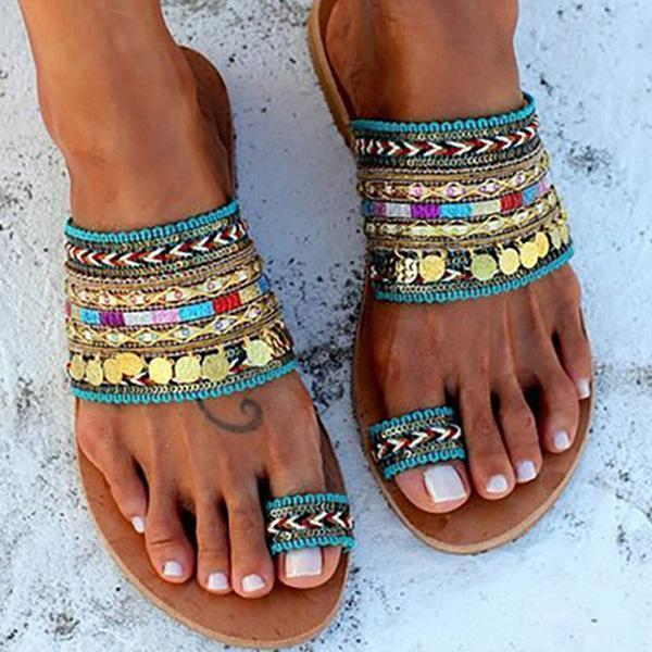 Chloebuy Ethnic Boho Style Toe Ring Sandals