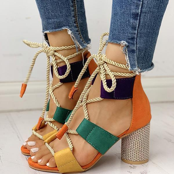 Chloebuy Colourblock Lace-up Chunky Heels Open Toe Sandals
