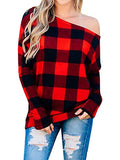 Chloebuy Women Multicolor Plaid Off-shoulder Sexy Blouses