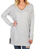 Chloebuy  Sweater Long sleeve Pullover sweatshirt Contrast pocket  V-neck