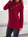 Chloebuy Fashion Solid Color Long Sleeve T Shirt