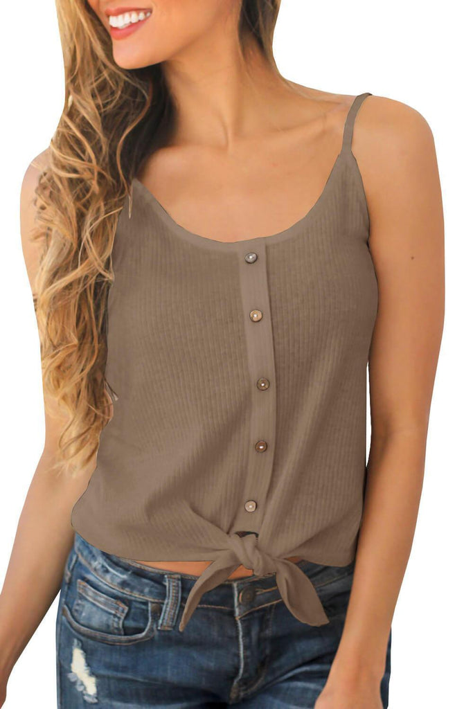 Chloebuy Ribbed Buttoned Tie Tank Top